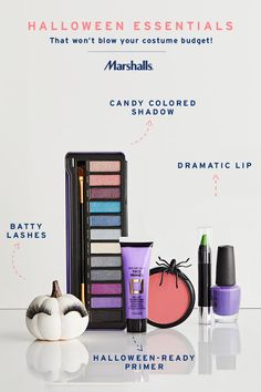 Makeup essentials for halloween — these pick-me-ups will make your costume go the extra mile, for less! First step, primer. Next, pick up a colorful eyeshadow palette so you can play up the drama. Don't forget your bold lip & lengthy lashes! Find the perfect makeup to elevate your Halloween look at Marshalls.