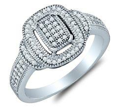 10K White Gold Diamond Halo Engagement OR Fashion Right Hand Ring Band - Square Princess Shape Center Setting w/ Micro Pave Set Round Diamon...