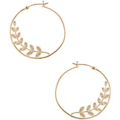 Tai Jewelry Women's CZ Olive Branch Hoop Earrings - Gold ($39) ❤ liked on Polyvore featuring jewelry, earrings, gold, yellow gold earrings, 14 karat gold earrings, gold cubic zirconia earrings, cubic zirconia hoop earrings and cz earrings