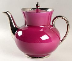Pink Laque de Chine Platinum (Aubergen) Teapot by HAVILAND