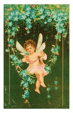 forget me not flower blue small vintage Vintage Ephemera, Vintage Cards, Vintage Postcards, Vintage Images, Vintage Pictures, Create A Fairy, Vintage Fairies, Postcard Printing, Baby Fairy
