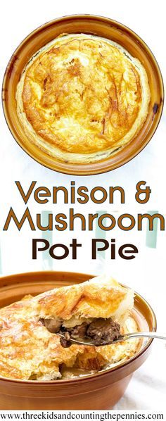 Venison and Mushroom Pot Pie - deliciously rich, fuss-free family meal. Venison is very gamey and my boys love it, but it's easily swapped, to beef for example. Elk Recipes, Wild Game Recipes, Venison Recipes, Great Recipes, Cooking Recipes, Favorite Recipes, Venison Meals, Delicious Recipes, Venison Roast