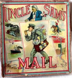 Uncle Sam's Mail Milton Bradley's oversize board game 1880-90s #McloughlinBros