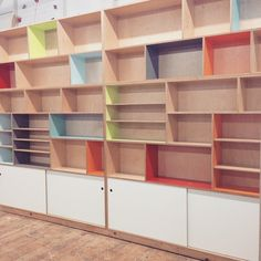 Custom maple plywood bookcase with a plethora of color laminate. Plywood Bookcase, Plywood Storage, Plywood Walls, Plywood Furniture, Storage Shelves, Bookshelves, Home Furniture, Furniture Design, Modular Shelving