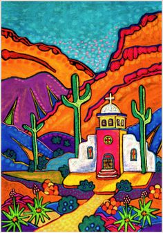 Church in Pastel by Jenny Willigrod