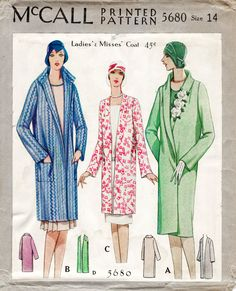 1920s 20s McCall 5680 vintage sewing pattern flapper coat shawl or pointed collar bust 32 b32 English & French reproduction