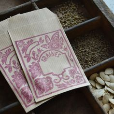 boutique sachets de graine 6 Napkins, Boutique, Tableware, Seed Packets, Lino Prints, Quirky Gifts, Dinnerware, Towels, Dinner Napkins