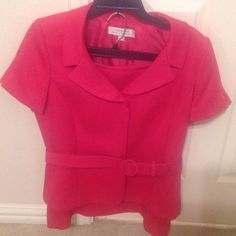 Beautiful Two Piece Suit Beautiful 2 piece suit new, price is negotiable.  I bought it and wanted to late to try it on, when I did it's too big and I cannot return, hopefully someone else would love?? it like I do?????? the color is fuschia, the blouse is not included. Tahari Skirts Midi