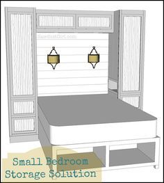 Small Bedroom Project – Wardrobe, Storage and Organzation Solution ~~ This could work for my room. Like the pendant lights, but they'd be in front of a window instead of the back of the headboard. Storage underneath & on the sides. Something to ponder.