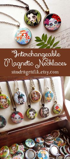 NEW 3 in 1 Interchangeable Magnetic Necklace with your choice of Three Inserts by Sandra Vargas #magneticnecklace #mothersdaygift #magneticpendant  #interchangeable  #3in1necklace #magneticjewelry  #buttonpendants  #necklace  #jewelry