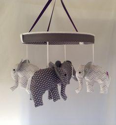 Four Precious Grey White Baby Elephant Mobile by MemeFleury, $86.00