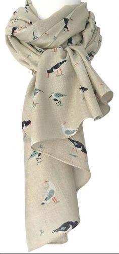 158560b502 A Beige Scarf Puffins Gulls Wading Birds RSPB Bird Cotton Blend Shawl  Seagull Wrap