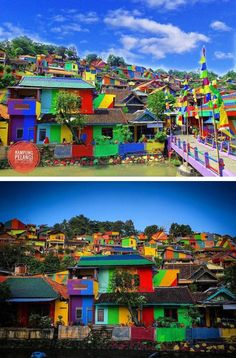 The Indonesian town of Kampung Pelangi,  aka Rainbow Village, has went from drab to fab with a technicolor paint job.