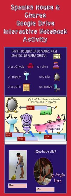 Spanish House and Chores Google Drive Interactive Notebook Activity by Angie…