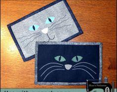 PDF Pattern for Cat Mug Rug, Cat Face Mug Rug Pattern, Cat Mini Quilt Pattern - Tutorial, DIY