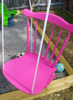 Yesterday we revisited the wonderfully colorful backyard of a young girl in Sweden and one of the memorable features was a vibrant pink chair swing. So, how was it made?