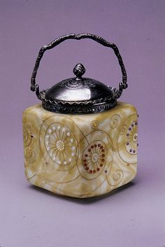 Biscuit Jar - Blown, Enameled And Gilded Burmese and Crown Milano Glass - American  c. 1904