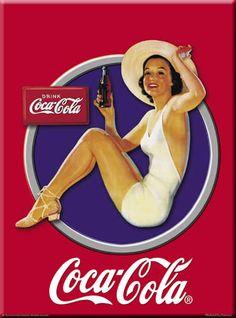 Carte Métal Coca Cola Blue Cercle 15x21 cm