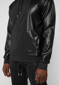 Metal Plaque, Leather Fabric, Black Hoodie, Vegan Leather, Handsome, Leather Jacket, Pullover, Hoodies, Sleeves