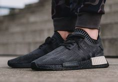 "Foot Locker Eu will be dropping an exclusive adidas NMD colorways during this holiday season and one of the iterations releasing will be the Core Black and Sesame silhouette. Similar to the ""Pitch Black"" pair, this Sneaker Outfits, Converse Sneaker, Puma Sneaker, Foot Locker, Sneakers Mode, All Black Sneakers, Nike Sneakers, Yeezy Sneakers, Shopping"