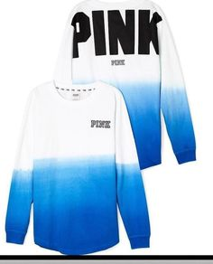 VICTORIA SECRET PINK  VARSITY CREW SWEAT SHIRT OMBRE BLUE SMALL S   NEW