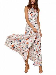 Polychrome Floral Halter Stretch Waist Open Back Split Maxi Dress