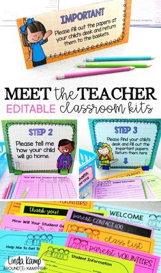 Back to school night can be as overwhelming as it is exciting.  Take the stress out of Meet the Teacher open house with these completely editable classroom kits. Collect back to school info you need with 10 different parent forms. Step-by-step procedure signs and table tents ensure that parents know what to do while you greet students. Includes an adorable giving tree and student gifts, too!  Brights classroom decor theme.