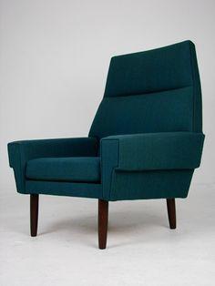 Danish Mid-Century Highback Lounge Chair. Original Wool Upholstery and Teak Legs. 82w x 71d x 100h x 39sh.