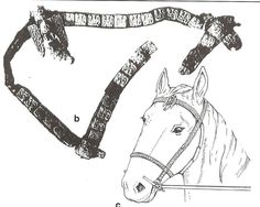 9-11th century horse gear. B is a bridle from Gnezdovo, Russia, C is reconstruction of the Borre, Norway bridle.