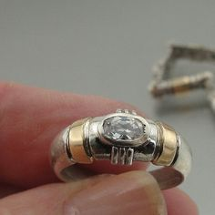 NEW Classic 9K Yellow Gold & Sterling Silver Zircon Ring size 7 (s r58)