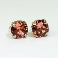 Coral Silver studs Swarovski Crystal Peach Pink earrings Coral Single Stone Studs,Coral Wedding,Coral Bridesmaids 8mm ,Silver,Rose Peach,SE1