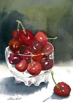 "Life truly is a ""Bowl Full of Cherries"" (as the saying goes) when you get to enjoy such ""cheery"" and uplifting artwork as this, Maria!  I'm a fan of this delectable fruit and tend to associate them with such fines things as dark chocolate, or even in a Coca-Cola in a frosted mug, or as a topping on vanilla icecream with a dreamy hot fudge drizzled on top!  Hungry yet?  I know I am!  Love it!  Fave!"