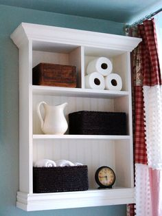 Cottage Bathroom Storage Cabinet Create stylish storage for your bathroom: This build-it-yourself shelving unit is a perfect way to make unused wall space functional.
