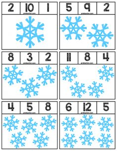 Clip cards featuring snowflakes to help teach numbers Super easy prep, 12 cards total! Pre Kindergarten, Kindergarten Worksheets, Preschool Activities, Snow Activities, Free Preschool, Preschool Crafts, Body Preschool, Preschool Winter, Winter Activities For Kids