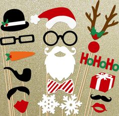 Christmas Holidays Photo Booth Props 18 Piece On a Stick Photo Props set - Santa Photobooth Party Props. $38.00, via Etsy.