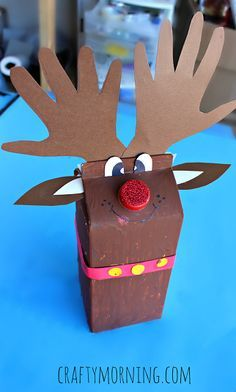 Milk carton reindeer craft- I made these with three of my nieces ! AND THEY LOVED THEM !! They were so much fun to make ..and turned out beyond Adorable !!