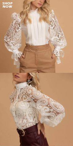 Fashion special tops for women, interesting printed and comfy material clothes you can't miss in summer and fall. Dressy Casual Outfits, Classy Outfits, Mode Chic, Mode Style, Women's Summer Fashion, Trendy Fashion, Women's Fashion, Blouse Styles, Blouse Designs