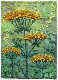 Bead Art: Yellow Yarrow by Kirsten Chursinoff Crewel Embroidery, Embroidery Applique, Cross Stitch Embroidery, Machine Embroidery, Japanese Embroidery, Flower Embroidery, Machine Quilting, Embroidery Patterns, Art Perle