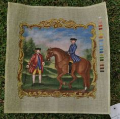 """16"""" Horse Riding Hand Painted Needlepoint Tapestry Canvas~Pillow/Wall Hanging -9"""