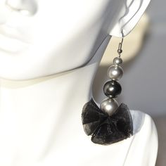 Swarovski Crystal Pearl Drop Earrings, One of a Kind, Statement by RikaUnicaJewellery on Etsy
