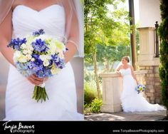 A blue and white bridal bouquet!  TPC Wedding Photos - Ponte Vedra Wedding Photos -  Tonya Beaver Photography 012