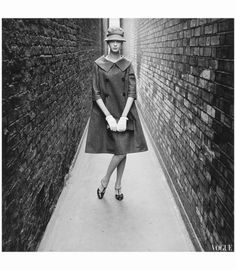 Nena von Schlebrugge - Vogue in 1958 London wearing items from Yves Saint Laurant's first collection for Christian Dior Norman Parkinson