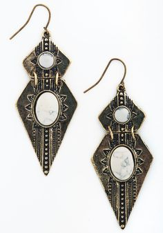 Plenty Posh Earrings. Make your long-awaited evening even more memorable by hanging these art-deco-inspired earrings from your lobes! #white #modcloth