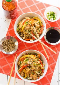 One Pot Chicken Teriyaki Rice Bowls - ready in 30 minutes and better than takeout!