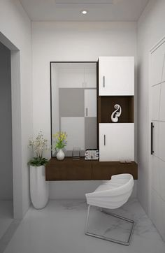 Here you will find photos of interior design ideas. Get inspired! Dressing Table Mirror Design, Modern Dressing Table Designs, Dressing Room Decor, Bedroom Dressing Table, Dressing Room Design, Dressing Tables, Wall Mounted Dressing Table, Wardrobe With Dressing Table, Dressing Mirror
