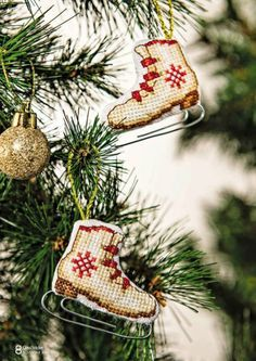 CrossStitcher № 298 2015 - Figure Skates Ornament 1/2 (Thinking these would be cute for Silver Skate Festival)