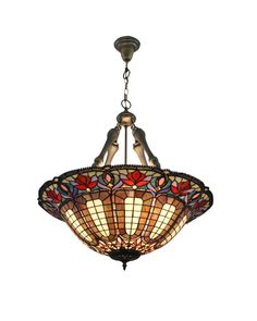 Dining Room White Grey Red Tiffany Pendant Lamp