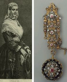 "Swiss chatelain from the 1760s. A chatelain (French: ""lady of the castle"") in its original form is a belt hook, worn by the lady of the castle, from which the keys of the castle were suspended. They were later used by women and men to hold a variety of objects. #AntiqueJewelry #Chatelains"