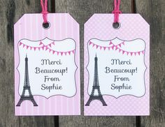 Paris Party Thank You tags
