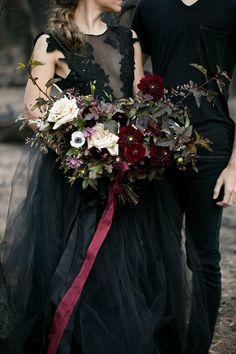 Elegance overflows at this misty Halloween ballet wedding inspiration Black Wedding Dresses, Purple Wedding, Dream Wedding, Black Weddings, Wedding Black, Burgendy Wedding, Wedding Gowns, Ballet Wedding, Black Tulle Dress